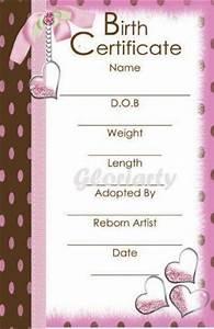 Reborn birth certificate ebay for Reborn birth certificate template