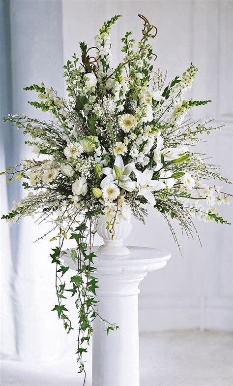 ceremony flowers classic alter arrangement wedding
