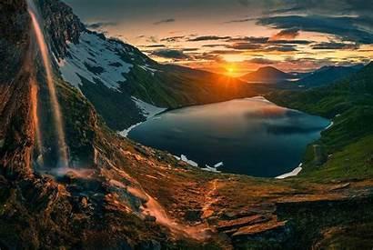 Sunrise Waterfall Mountains Nature Landscape Lake Hiking