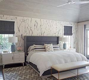 Gray Headboard with White Marble Lamp - Transitional - Bedroom