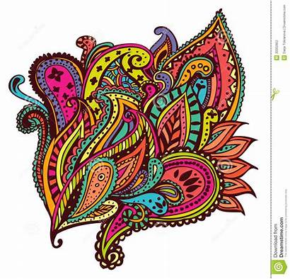 Paisley Colourful Designs Vivid Paintings Illustration Indian