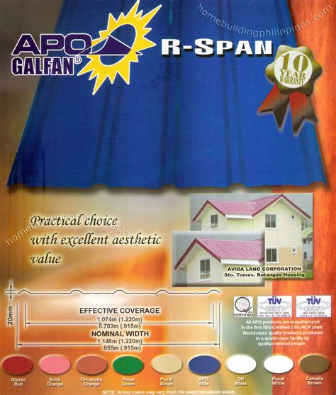 apo galfan  span metal roofing sheet color philippines
