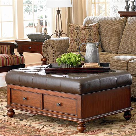 Using An Ottoman As A Coffee Table by Ottoman Style Table Two Drawers