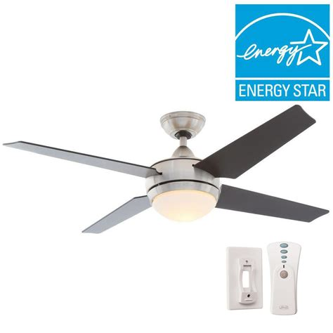 hunter universal ceiling fan hunter sonic 52 in indoor brushed nickel ceiling fan with