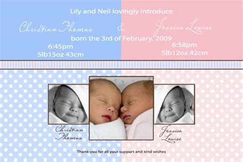 twin birth announcements photo cards twin announcement cards with spots and stripes