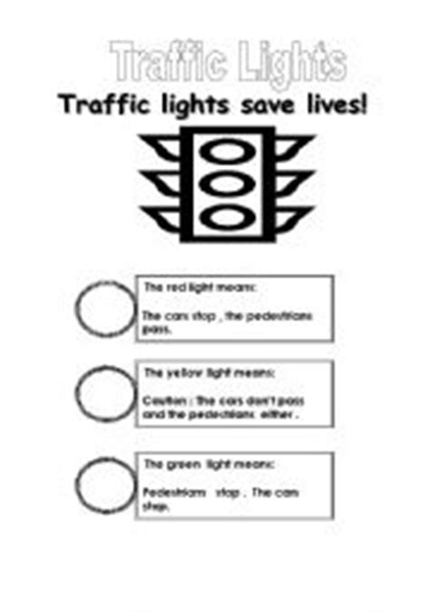 teaching worksheets traffic lights