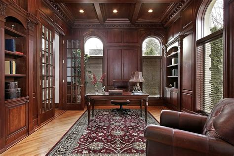 home office ideas   pictures wood paneling armchairs  ceilings