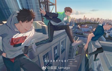 wallpaper  city guys jump haikyuu tooru oikawa