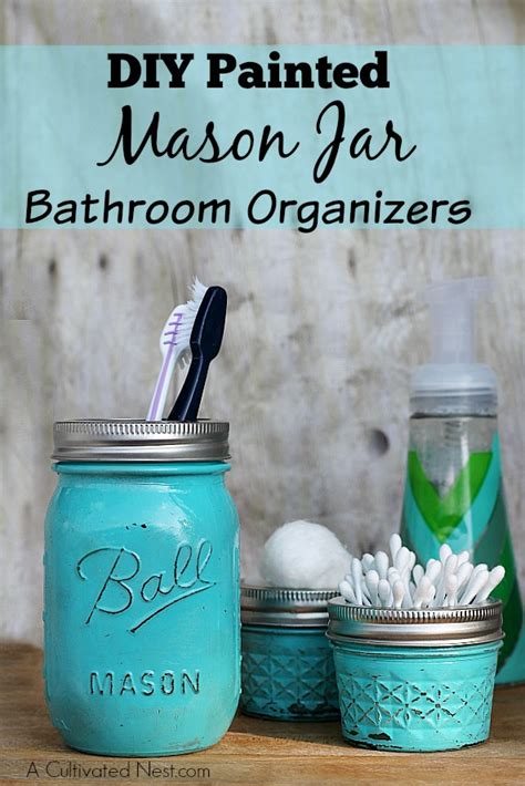 diy with jars diy painted mason jar bathroom organizer