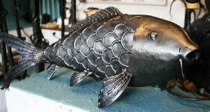 Lifesize Carp Sculptures By West Country Blacksmiths