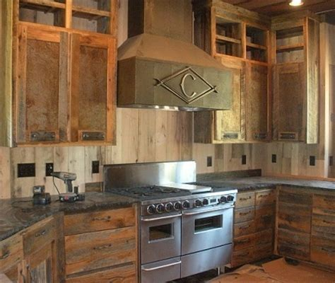 reclaimed wood kitchen cabinets reclaimed skip planed gray board cabinets and drawers 4533