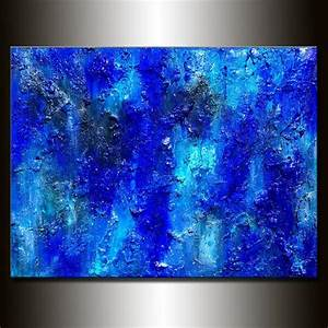 Original, Textured, Large, Blue, Abstract, Painting