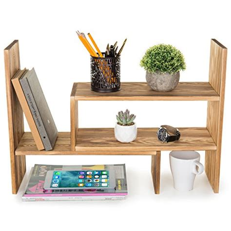 Desktop Bookcase by Mygift Burnt Wood Adjustable Desktop Organizer Display