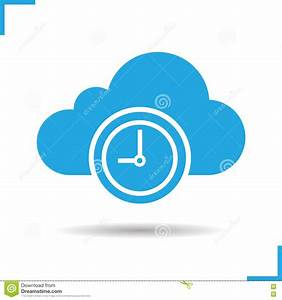 Cloud, Storage, Time, Icon, Stock, Vector, Illustration, Of, Simple