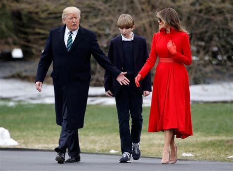 trump barron donald son melania youngest trumps parents soccer president arsenal stormy before marriage wife daniels happy fan lady visits