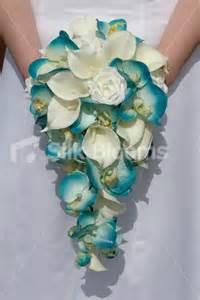 Stunning Turquoise Orchid & Ivory Calla Lily Cascading Bouquet