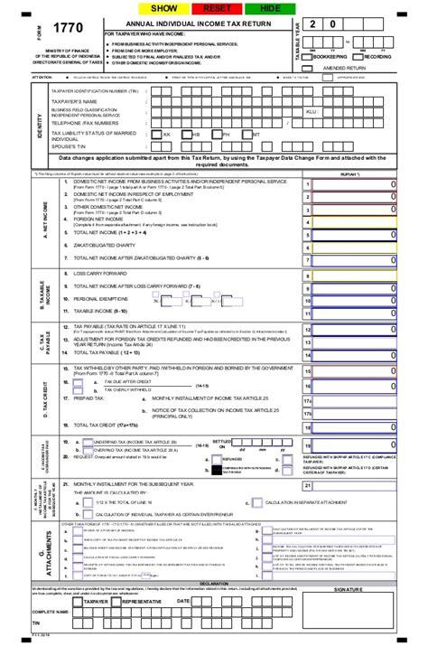 spt tahunan pph wajib pajak  pribadi formulir