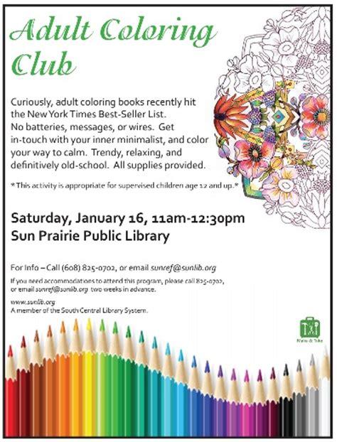 adult coloring club sun prairie public library