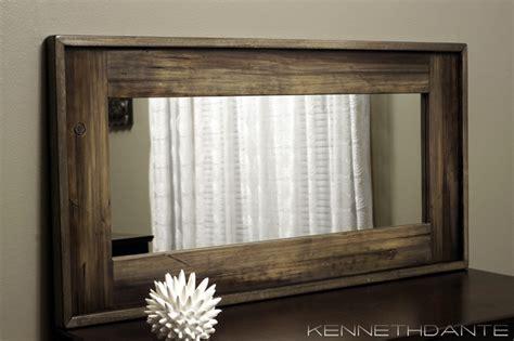 wood framed mirrors rustic milwaukee  kennethdante