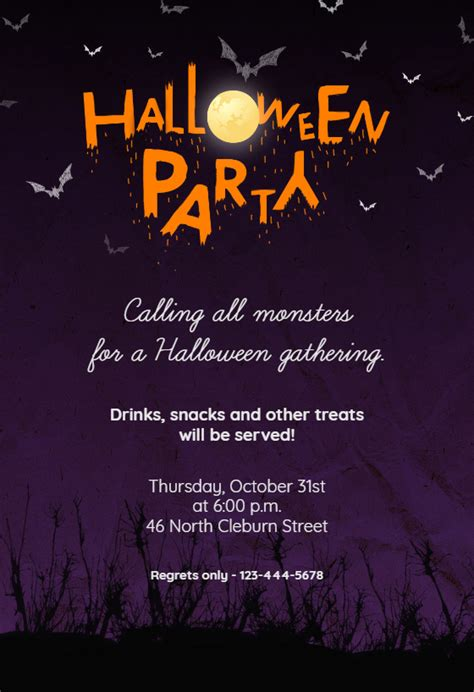 calling  monsters halloween party invitation template