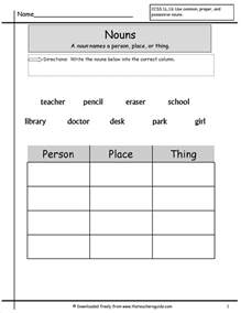 noun printable worksheets nouns worksheets from the 39 s guide