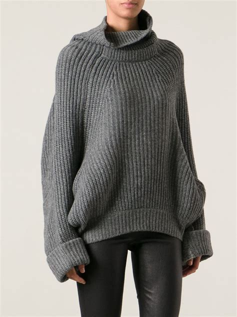 oversized sweater toga pulla oversized turtleneck sweater in gray lyst
