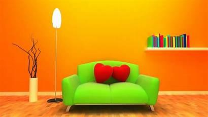 Sofa Heart Background Orange 3d Graphics 1080p