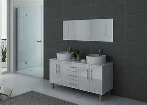 meuble de salle de bain 2 vasques blanc dis989b meuble de With meuble vasque blanc