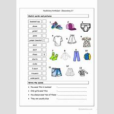 Vocabulary Matching Worksheet  Elementary 27 (clothes) Worksheet  Free Esl Printable