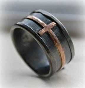 mens cross wedding band rustic hammered cross ring With mens cross wedding rings