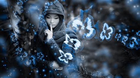 asian girl nature flowers art style  wallpapers el