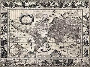 Carte Du Monde Noir : vieille carte du monde toile ~ Teatrodelosmanantiales.com Idées de Décoration
