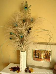 Mantel Decor :: Decorating with Pampas Grass and Peacock