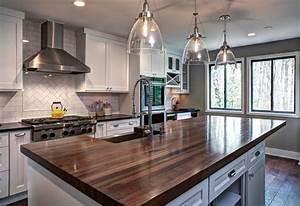 Walnut Kitchen Island - Transitional - Kitchen - Atlanta