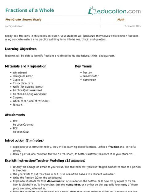 food fractions worksheet education