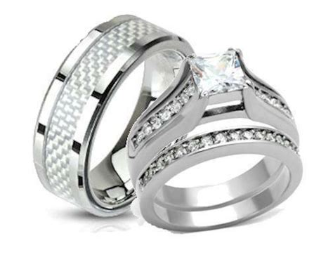his and hers wedding rings stainless steel princess cut cz wedding ring ebay