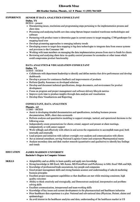 Resume For Analytics consultant data analytics resume sles velvet