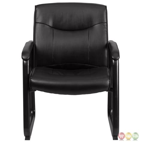 hercules big black leather arm chair w sled base