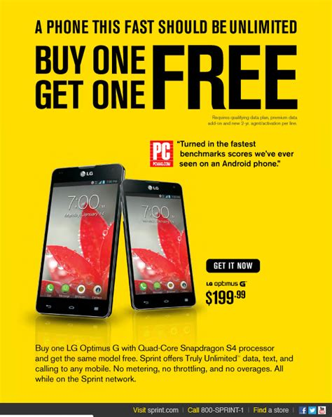 sprint offering buy one get one free deal on the lg