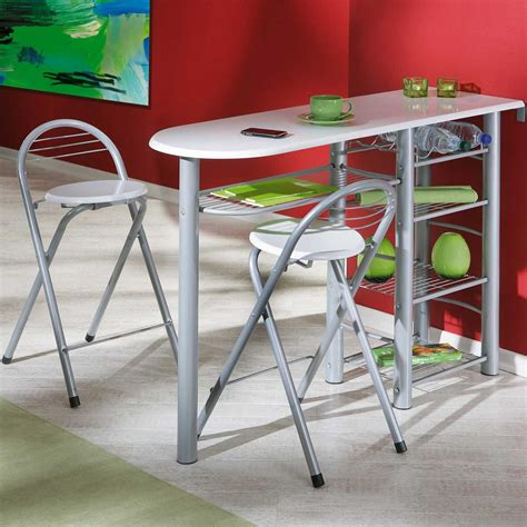 table de cuisine bar table de bar quot frida quot 2 tabourets blanc 50901190