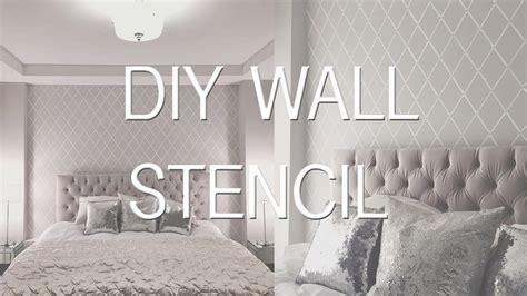 bedroom update stencil wall diy wallpaper effect youtube