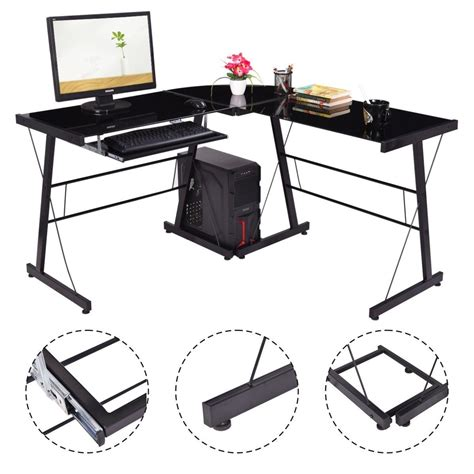 sturdy glass computer desk l shape computer desk pc laptop table glass top