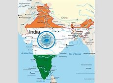 Vector kort over Indien land farvet af Stock vektor
