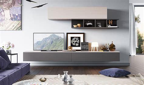 meubles muraux pour salon tv design laque gris  bois clair