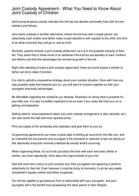 joint custody agreement template joint custody agreement what you need to about joint custody