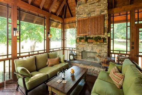 screened porch  fireplace  exposed rafter ceilings