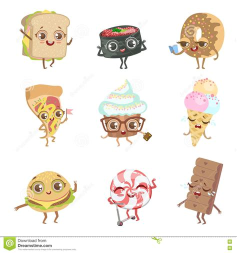 cuisine emotion different food childish characters emotion collection