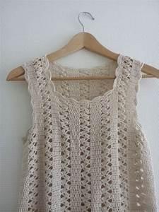 top haut debardeur femme beige tricote au crochet fait With robe en coton pour femme