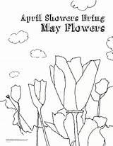 Coloring Flowers April Showers Bring Flower Dinosaur Printable Bear Popular sketch template