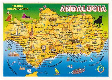 postcard  la carte  andalucia map spain